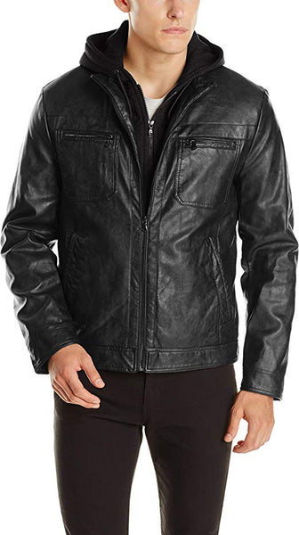 Kenneth Cole REACTION Men's Marble Faux-Leather Moto Jacket with Hood