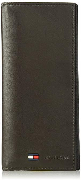 Tommy Hilfiger Leather Secretary Wallet - Slim Long Multipurpose Versatile Vertical Bifold Checkbook Cover
