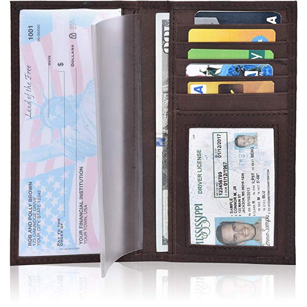 ESTALON Leather Checkbook Cover Holder for Women and men - Standard Register Duplicate Checks RFID Card Slim Mens Wallet