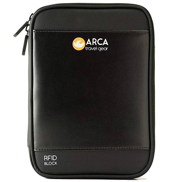 Arca Travel Gear PASSPORT HOLDER & TRAVEL DOCUMENT ORGANIZER with RFID Blocking + 2 Bonuses: Shoulder Strap and E-Book