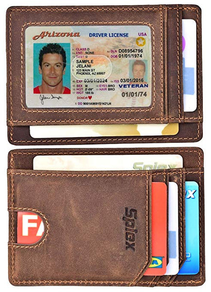 Spiex Slim Wallet Front Pocket Minimalist Genuine Leather RFID Blocking Card Holder