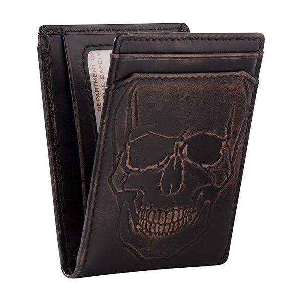 HOJ Co. SKULL ID Bifold Front Pocket Wallet-Full Grain Leather-Money Clip Wallet