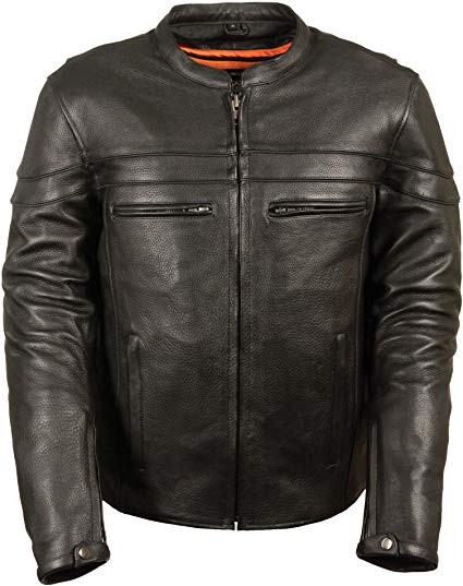 Milwaukee Leather Men's Sporty Scooter Crossover Leather Jacket (Black, Large)