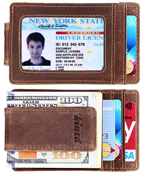 Kinzd Money Clip, Front Pocket Wallet, Leather RFID Blocking Strong Magnet thin Wallet