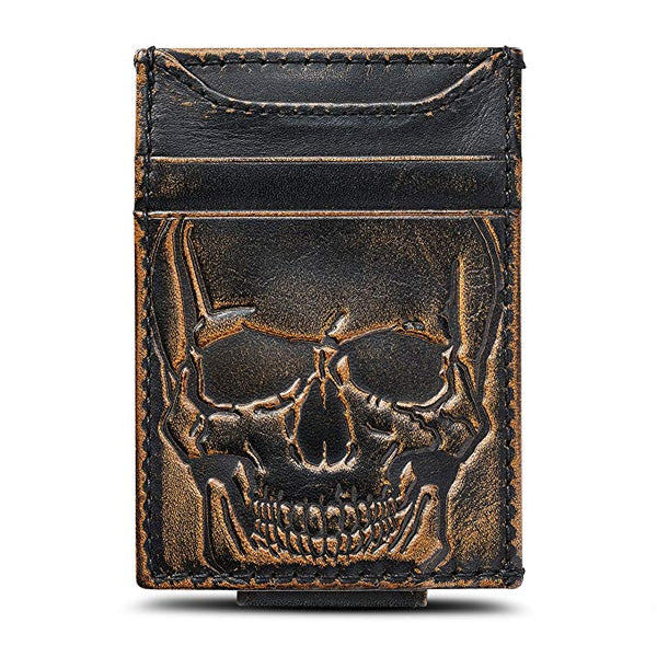 HOJ Co. SKULL Front Pocket Wallet-Slim Money Clip Wallet-Strong Magnetic Clip-Motorcycle Wallet