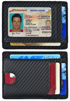 Spiex Slim Wallet Front Pocket Minimalist Carbon fiber RFID Blocking Card Holder