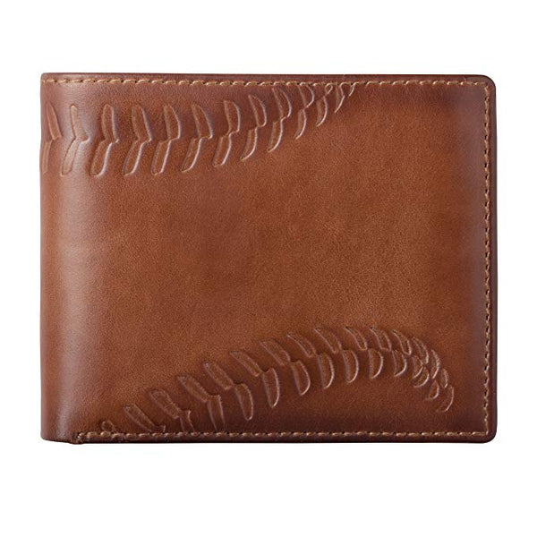 HOJ Co. BASEBALL Bifold Wallet-Two ID Windows-Full Grain Mens Leather Wallet-Multi Card Capacity-Coach Gift