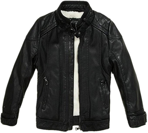 LJYH Boys Leather Jacket New Thick Velvet Children's Clothing Coat PU Leather