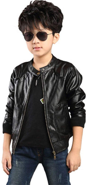 LUCKFACE Boy's Trendy Stand Collar PU Leather Moto Jacket Leather Coat (3-12) T