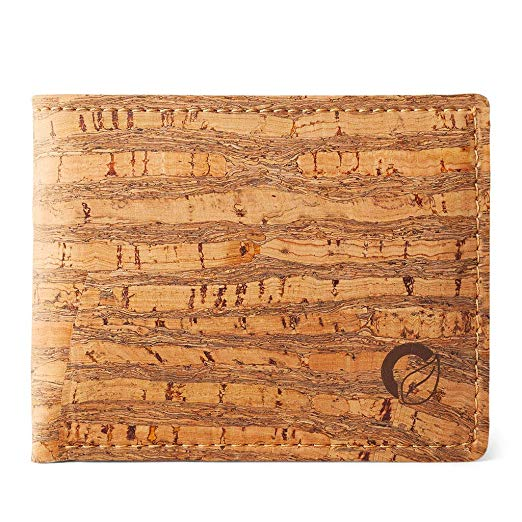Corkor Cork Wallet for Men | Vegan Cruelty Free Non Leather | Bifold Cards Cash Natural Zebra