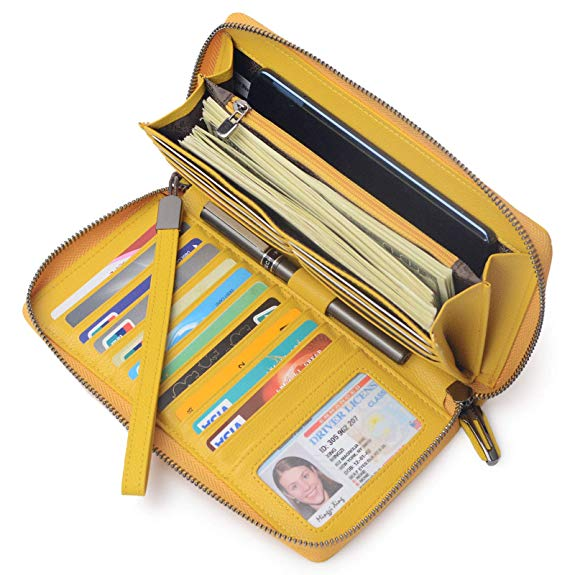 Bveyzi Women RFID Blocking Wallet Leather Zip Around Phone Clutch Large Travel Purse Wristlet