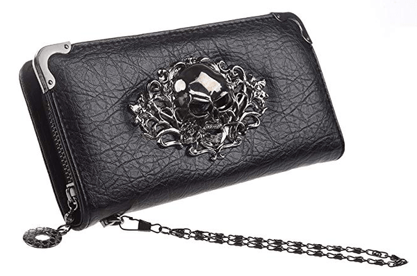 HOYOFO Skull Wallets for Women Long Purse Cool Fashion Clutch Wallet