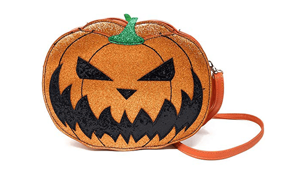 Comeco Halloween Pumpkin Jack O Lantern Glitter Crossbody Bag (Double Sided Jack O Lantern)