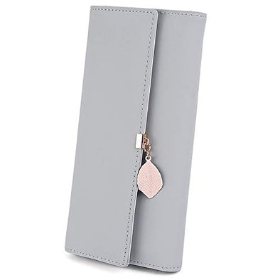 UTO Women PU Leather Wallet Large Capacity Leaf Pendant Card Phone Holder Checkbook Organizer Zipper Coin Purse Grey