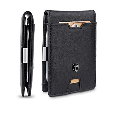 TRAVANDO Mens Slim Wallet with Money Clip AUSTIN RFID Blocking Bifold Credit Card Holder for Men with Gift Box (Black)