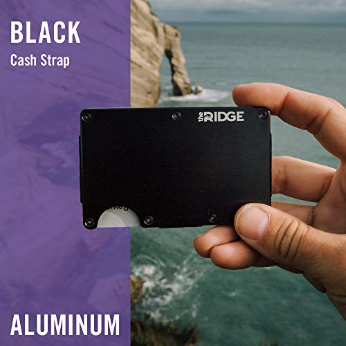 The Ridge Wallet Authentic | Minimalist Metal RFID Blocking Wallet with Cash Strap | Wallet for Men | RFID Minimalist Wallet, Slim Wallet (Black)