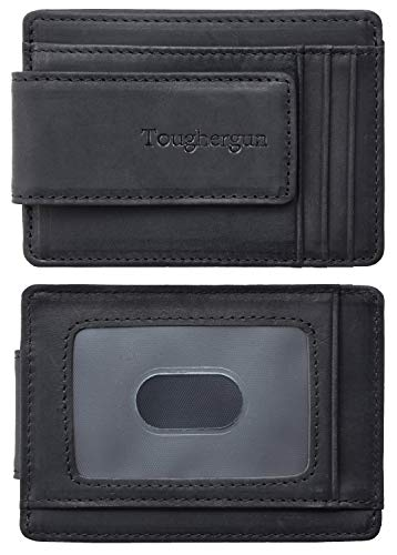 Toughergun Genuine Leather Magnetic Front Pocket Money Clip Wallet RFID Blocking(Crazy Horse Black)