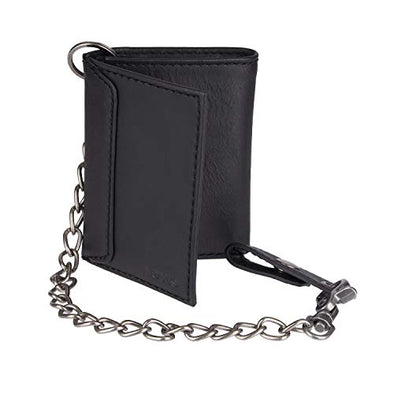 Levi's Men's Trifold Wallet-Sleek and Slim Includes Id Window and Credit Card Holder, Black Chain, One Size