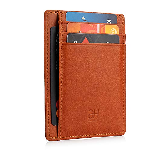 Slim Wallet RFID Blocking Leather Minimalist Front Pocket Wallets for Women Men