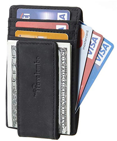 Travelambo Money Clip Front Pocket Wallet Slim Minimalist Wallet RFID Blocking (Black)