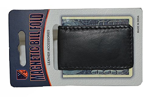 Leatherboss Genuine Leather Strong Money Clip Wallet for men, Black