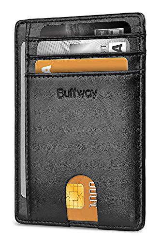 Buffway Slim Minimalist Front Pocket RFID Blocking Leather Wallets for Men Women - Alaska Black