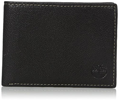 Timberland Men's Genuine Leather RFID Blocking Passcase Security Wallet, black, One Size