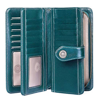 FALAN MULE Women's Wallet Genuine Leather RFID Blocking Large Capacity Trifold Ladies Wallet