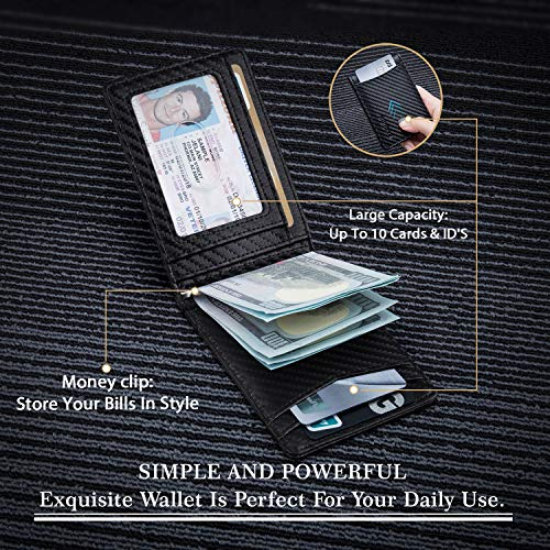 RUNBOX Minimalist Slim Wallet for Men with Money Clip RFID Blocking Front Pocket Leather Mens Wallets(carbon black)