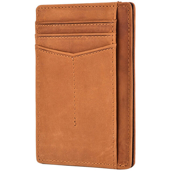 Crazy Horse Leather Slim RFID Blocking Front Pocket Wallet