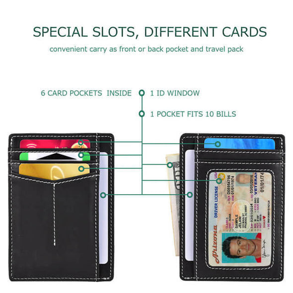 Oil Wax Leather RFID Blocking Slim Wallet