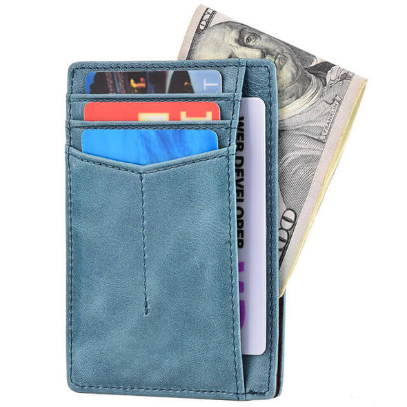 Blue slim wallet rfid