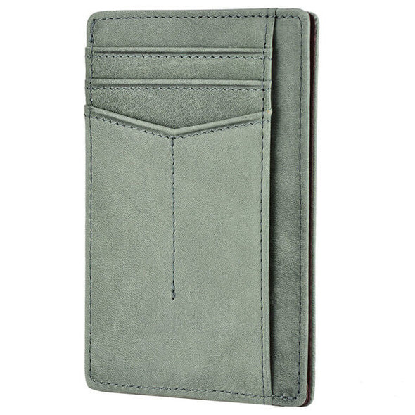 Green slim wallet rfid