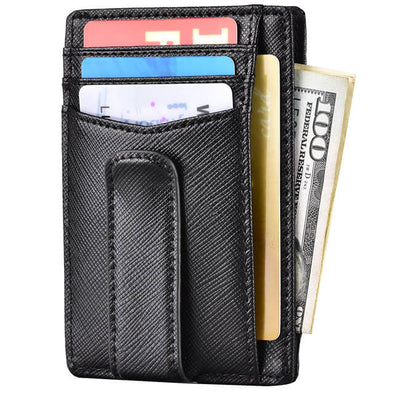 Crosshatch Leather Money Clip Front Pocket Wallet