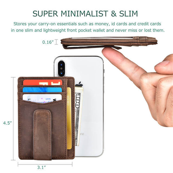 Crazy Horse Leather RFID Blocking Slim Minimalist Wallet