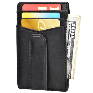 Oil Wax Leather RFID Blocking Slim Minimalist Wallet