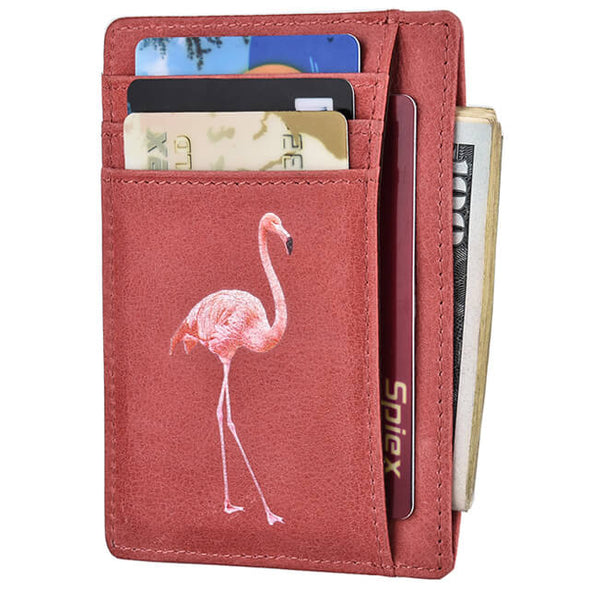 Oil Wax Leather Slim Minimalist Flamingo Pink Wallet