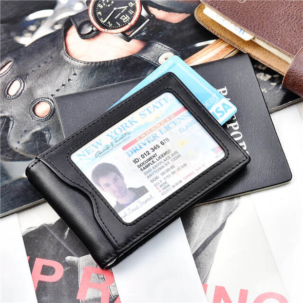 Nappa Leather Slim Bifold Wallet with Money Clip