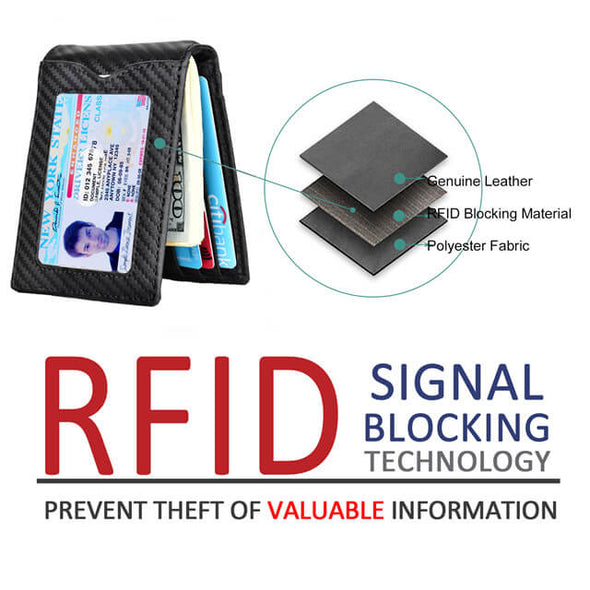 Carbon Fiber Bifold RFID Blocking Money Clip Wallet