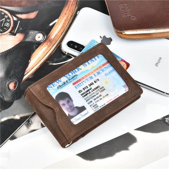 Crazy Horse Leather Slim Bifold Wallet RFID Blocking