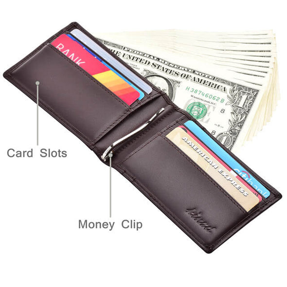 Napa Leather Slim Bifold Wallet with Money Clip