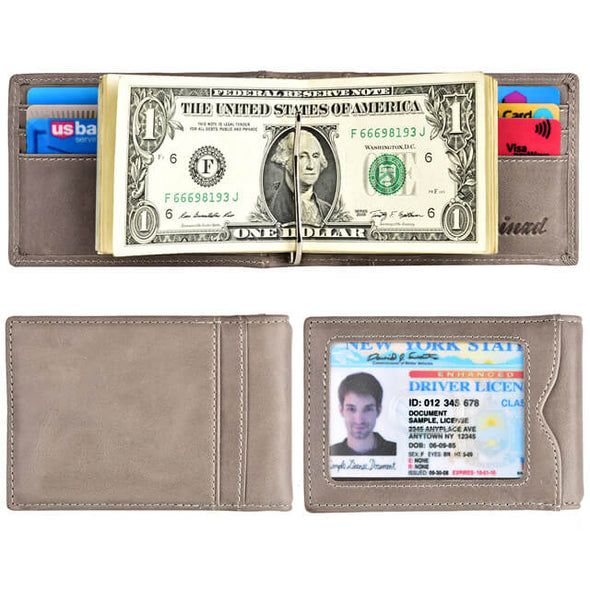 Oil Wax Leather Slim Bifold Wallet with Money Clip