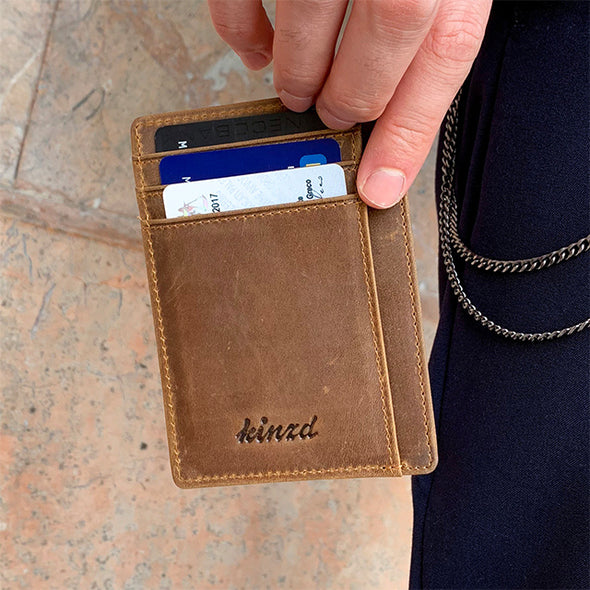 crazy horse leather front pocket wallet