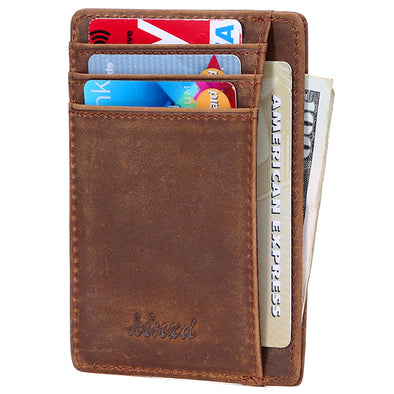 crazy horse slim front pocket wallet RFID