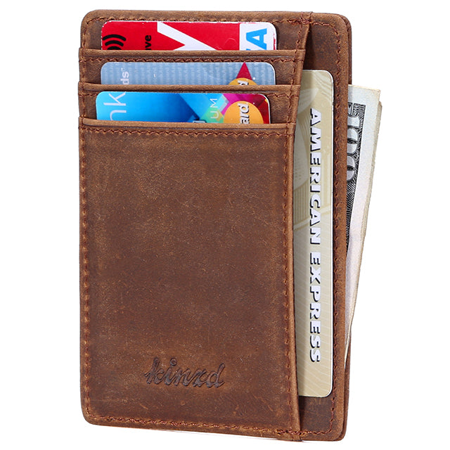 5b39810e0803 Crazy Horse Leather Minimalist RFID Slim Wallet -