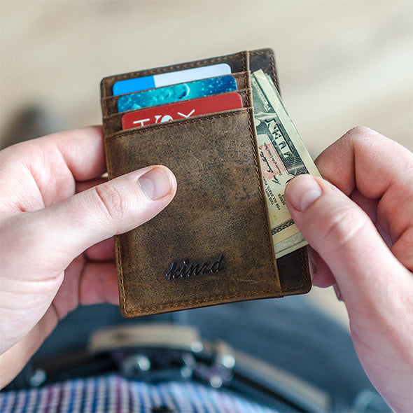 crazy horse leather RFID wallet