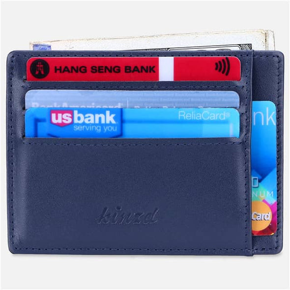 Blue Nappa Leather Minimalist Mens Pocket Wallet