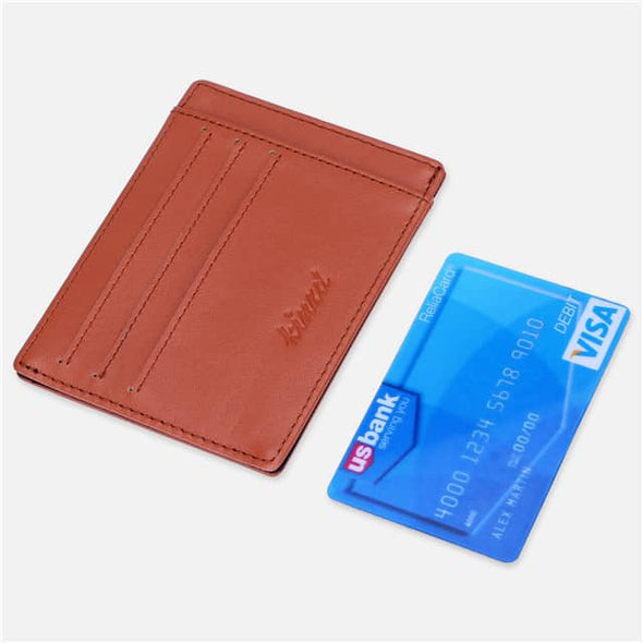 Brown Nappa Leather Minimalist Mens Pocket Wallet