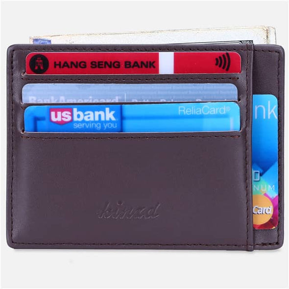 Coffee Nappa Leather Minimalist Mens Pocket Wallet