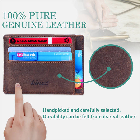 Minimalist Mens Wallet RFID Front Pocket Wallet Secure Thin Credit Card Holder